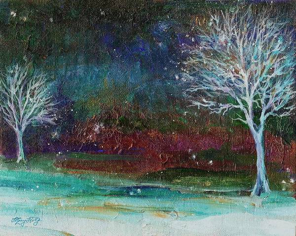 Painting - Snow At Twilight by Mary Wolf