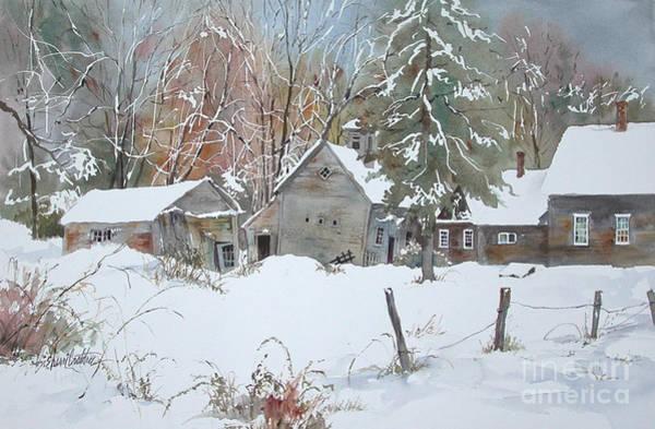 Fencepost Painting - Snow Barns by Sherri Crabtree