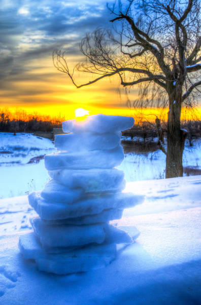 Photograph - Snow Candle - Sunrise North Of Chicago 1-8-14 002  by Michael  Bennett