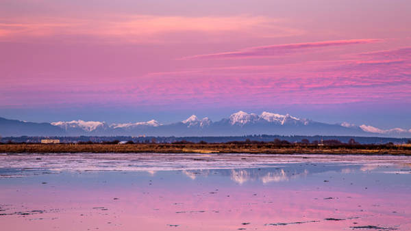 Photograph - Snow Capped Mountains At Dusk by Pierre Leclerc Photography