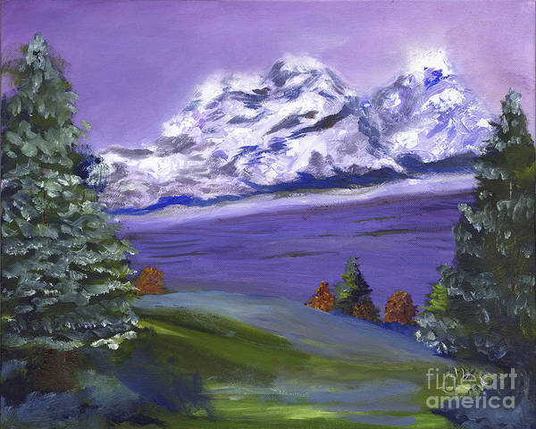 Wall Art - Painting - Snow Capped Mountains by Gloria Condon