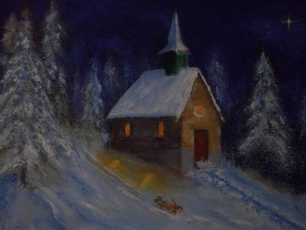 Stephen King Painting - Snow Country Church by Stephen King