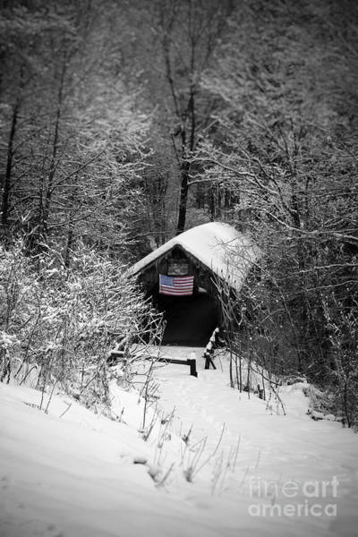 Photograph - Snow Covered Covered Bridge  by Edward Fielding