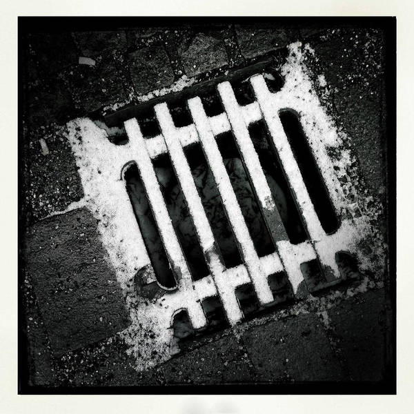 Minimalism Photograph - Snow Covered Drain Black And White Minimalism Abstract by Matthias Hauser