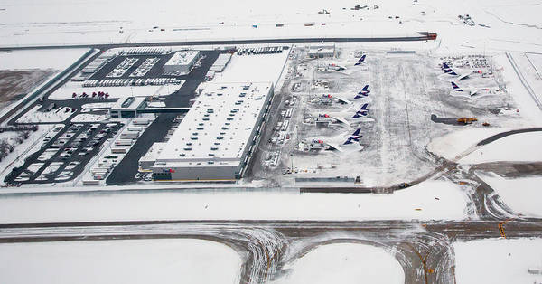 Runway Photograph - Snow-covered Fedex Terminal by Jim West