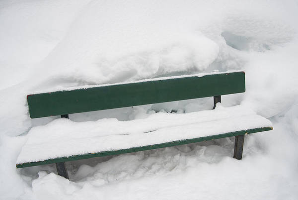 Photograph - Snow-covered Green Bench In Winter With Lots Of Snow by Matthias Hauser