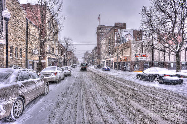 Photograph - Snow Covered High Street And Cars In Morgantown by Dan Friend