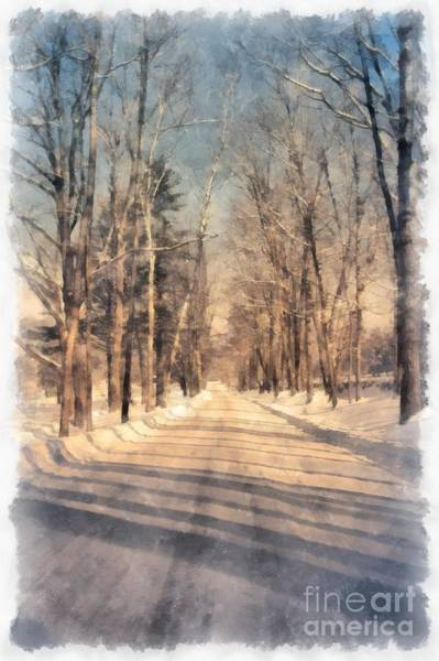 Backroad Wall Art - Photograph - Snow Covered New England Road by Edward Fielding