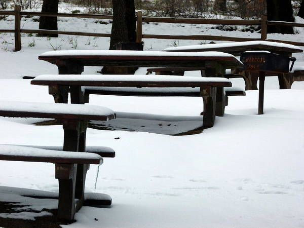 Photograph - Snow Covered Picnic Tables  by Jeff Lowe
