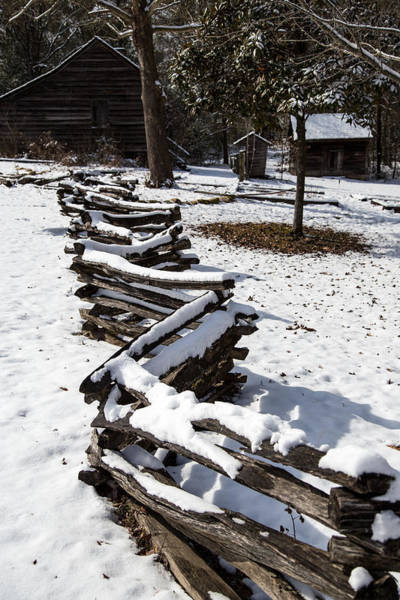 Photograph - Snow Covered Split-rail Fence by Charles Hite