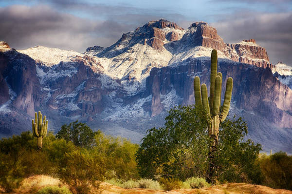 Superstition Mountains Photograph - Snow Covered Superstitions  by Saija  Lehtonen