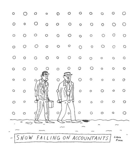 Wall Art - Drawing - Snow Falling On Accountants -- Two Men Walk by Liana Finck
