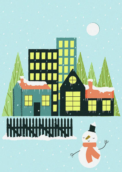 Snow Fence Digital Art - Snow Falling Over Town And Snowman by Alice Potter