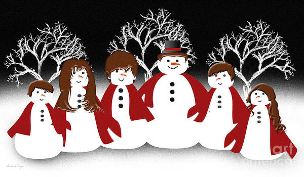 Digital Art - Snow Family 2 by Andee Design