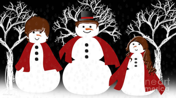 Digital Art - Snow Family by Andee Design