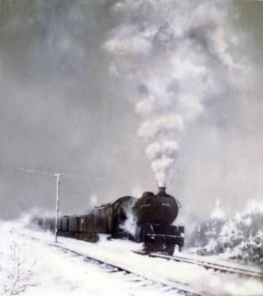 Freight Trains Painting - Snow Freight 2 by Paul Williams
