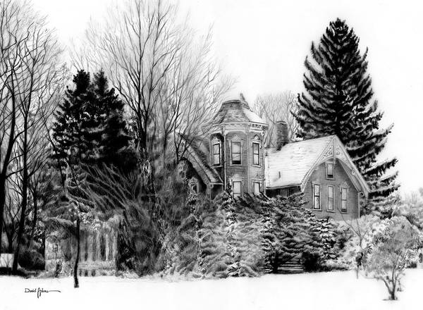 Drawing -  Da196 Snow House By Daniel Adams by Daniel Adams