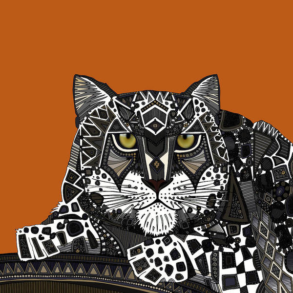 Snow Leopard Wall Art - Drawing - Snow Leopard Orange by MGL Meiklejohn Graphics Licensing