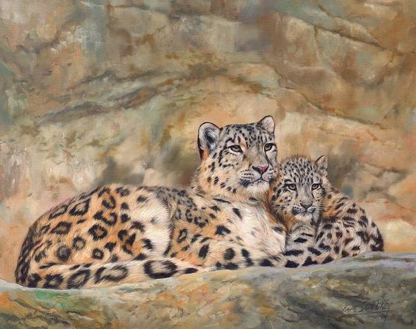 Nepal Wall Art - Painting - Snow Leopards by David Stribbling