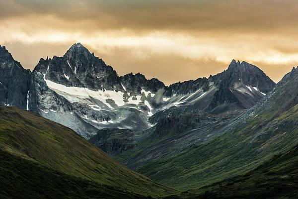 Snow On Mountains In The Alaska Range Art Print