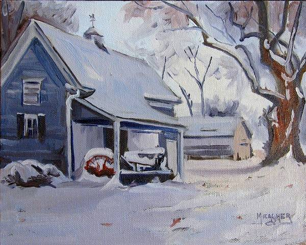 Vintage Tractor Painting - Snow On Old Iron by Spencer Meagher