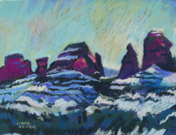 Painting - Snow On Peaks by Linda Novick