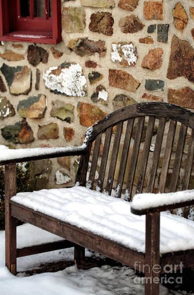 Photograph - Snow On The Bench by John Rizzuto