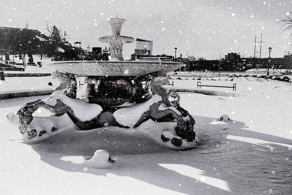 Photograph - Snow On The Fountain by Alice Gipson