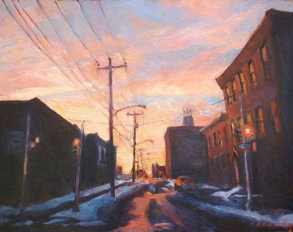 Utility Poles Painting - Snow On York by Jesse Gardner