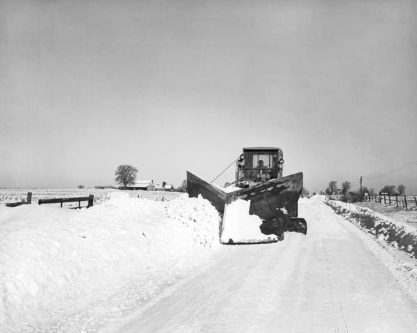 Thoroughfare Photograph - Snow Plow Clearing Roads by Underwood Archives