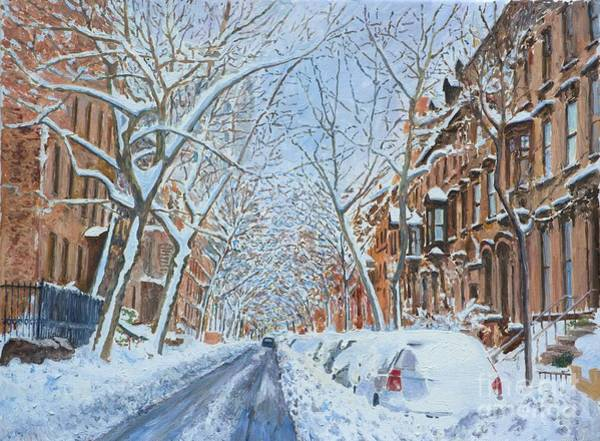 Urban Life Painting - Snow Remsen St. Brooklyn New York by Anthony Butera