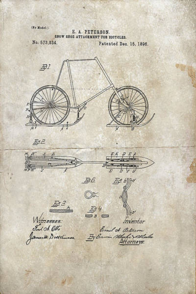 Wooden Shoe Digital Art - Snow Shoe Attachment For Bicycles Patent 1896 by Paulette B Wright