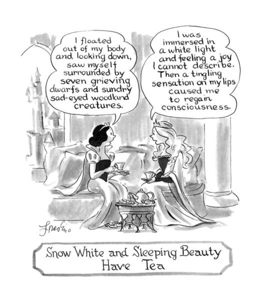 Experience Drawing - Snow White And Sleeping Beauty Have Tea by Edward Frascino