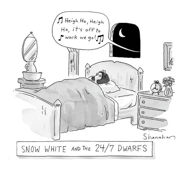 7 Drawing - 'snow White And The 24/7 Dwarfs by Danny Shanahan