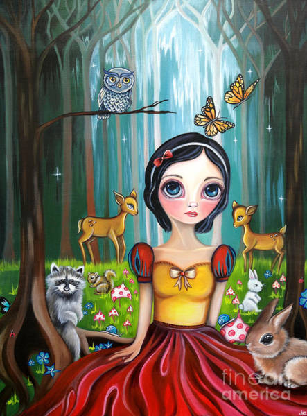 Snow Owl Painting - Snow White In The Enchanted Forest by Jaz Higgins