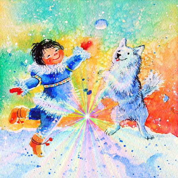 Inuit Painting - Snowball Fun by Hanne Lore Koehler
