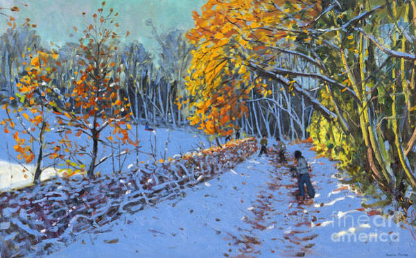 Icy Leaves Wall Art - Painting - Snowballing by Andrew Macara