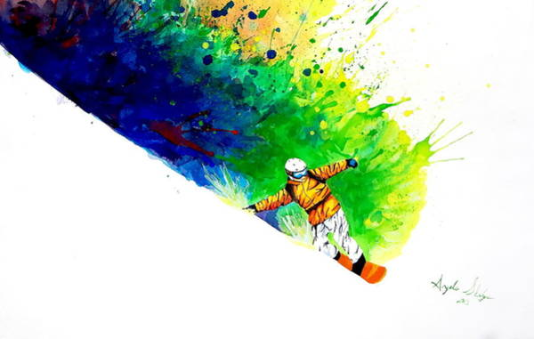 Winter Fun Painting - Snowboarder 1 by Angee Skoubye