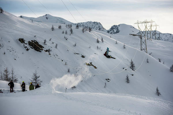 Snowboarder Jumping Off A Kicker Art Print