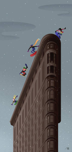York Digital Art - Snowboarders Fly Off The Flatiron Halfpipe by Bob Staake