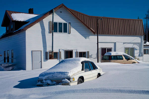 Photograph - Snowbound Cars In Michigan's Upper Peninsula by Randall Nyhof
