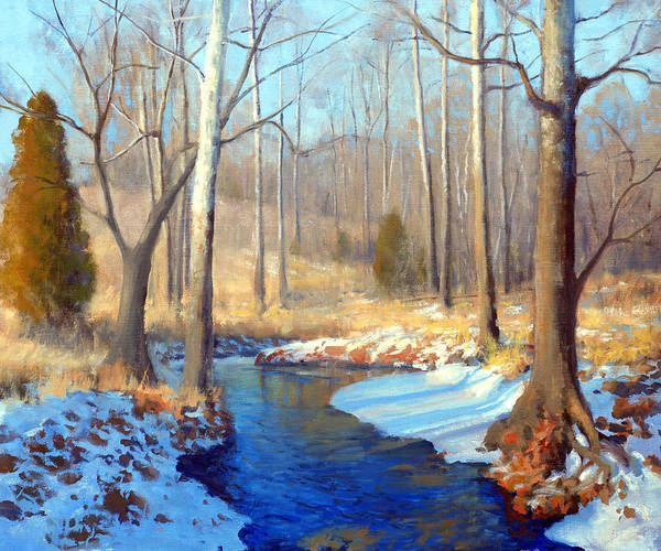 Wall Art - Painting - Snowbound Creek by Armand Cabrera