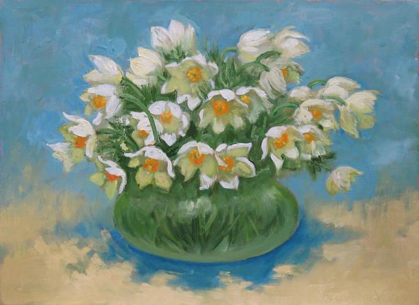 Snowdrop Painting - Snowdrops by Alexander Bezrodnykh