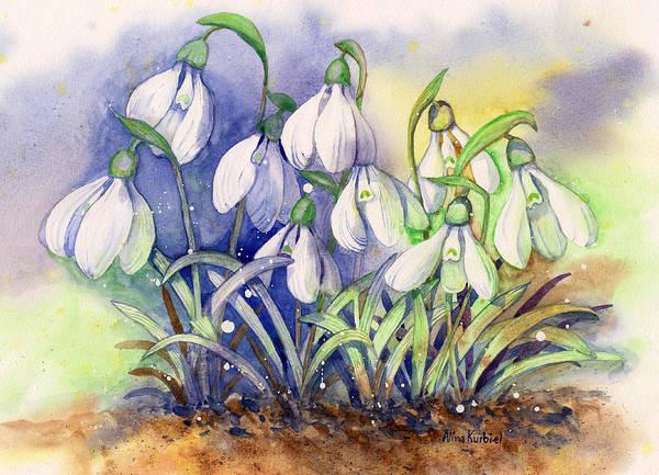 Snowdrop Painting - Snowdrops by Alina Kurbiel