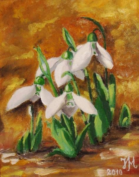 Snowdrop Painting - Snowdrops by Nina Mitkova