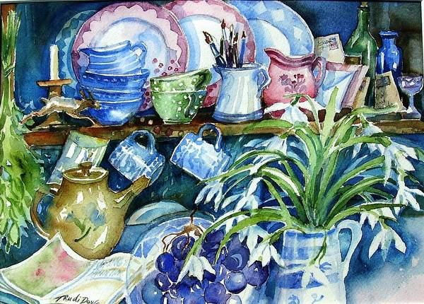 Snowdrop Painting - Snowdrops On A Kitchen Dresser by Trudi Doyle