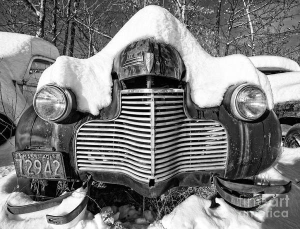 Photograph - Snowed In A Thick Blanket Of Snow Covering A Vintage Chevy by Edward Fielding