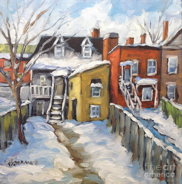 Montreal Street Scene Painting - Snowed In Yards By Prankearts by Richard T Pranke