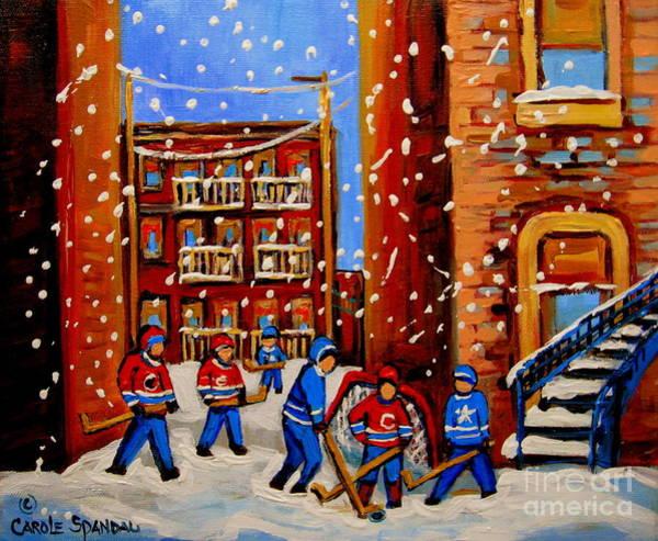 Montreal Canadiens Painting - Snowfall Hockey Game Winter City Scene by Carole Spandau
