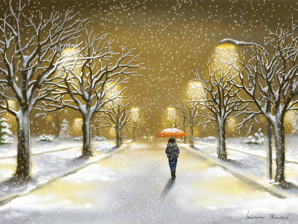Snowscape Painting - Snowfall by Veronica Minozzi